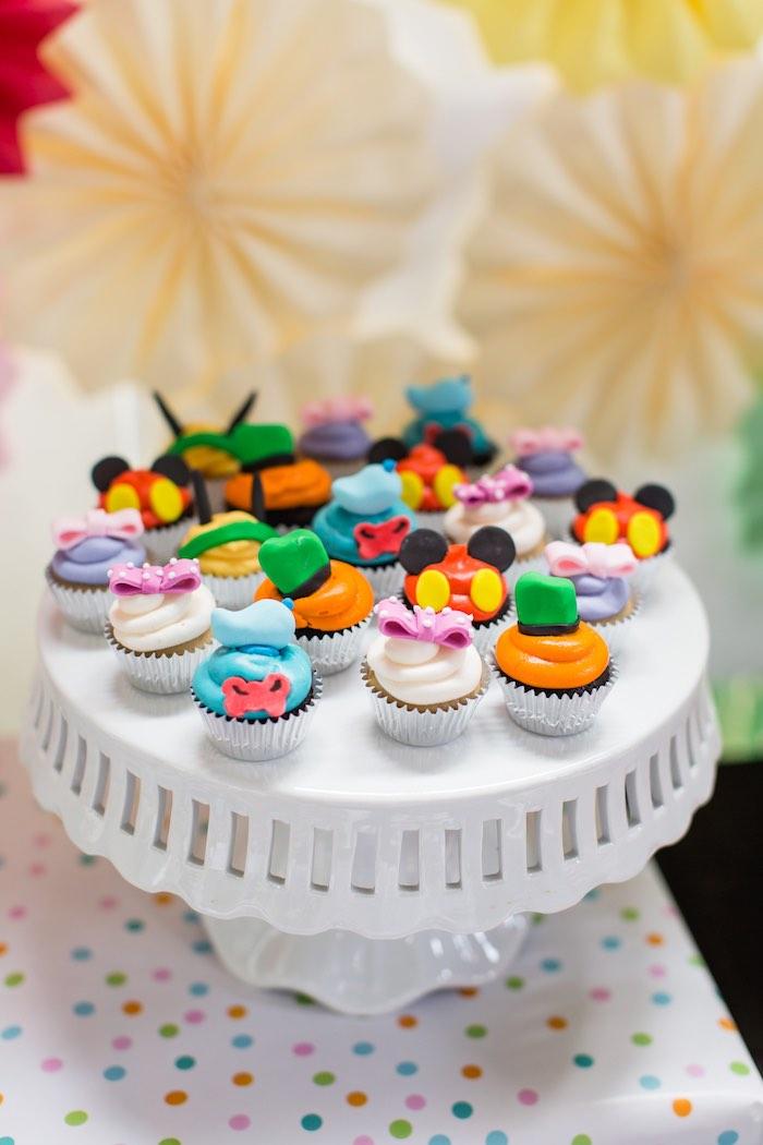 Cupcakes From A Modern Rainbow Mickey Mouse Clubhouse Birthday Party Via Karas Ideas KarasPartyIdeas