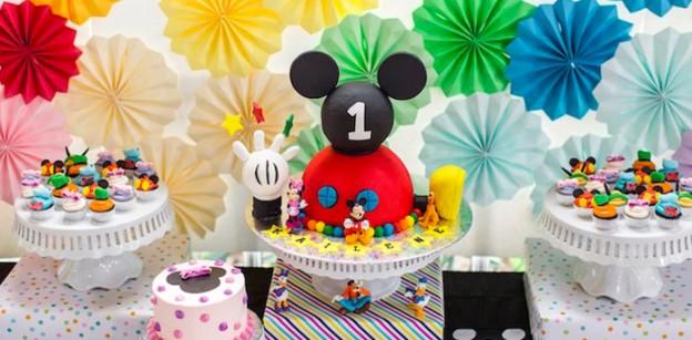 Cake Cupcakes From A Modern Rainbow Mickey Mouse Clubhouse Birthday Party Via Karas Ideas