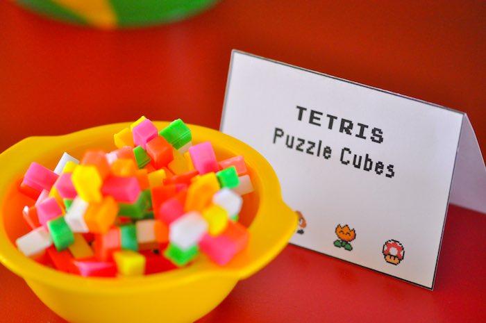 Karas Party Ideas Tetris Puzzle Cubes From A Nintendo Inspired - Tetris birthday cake