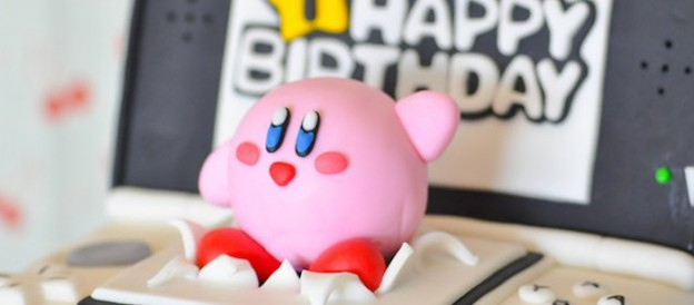 Kirby Cake Topper from a Nintendo Inspired Video Game Birthday Party via Kara's Party Ideas KarasPartyIdeas.com (1)
