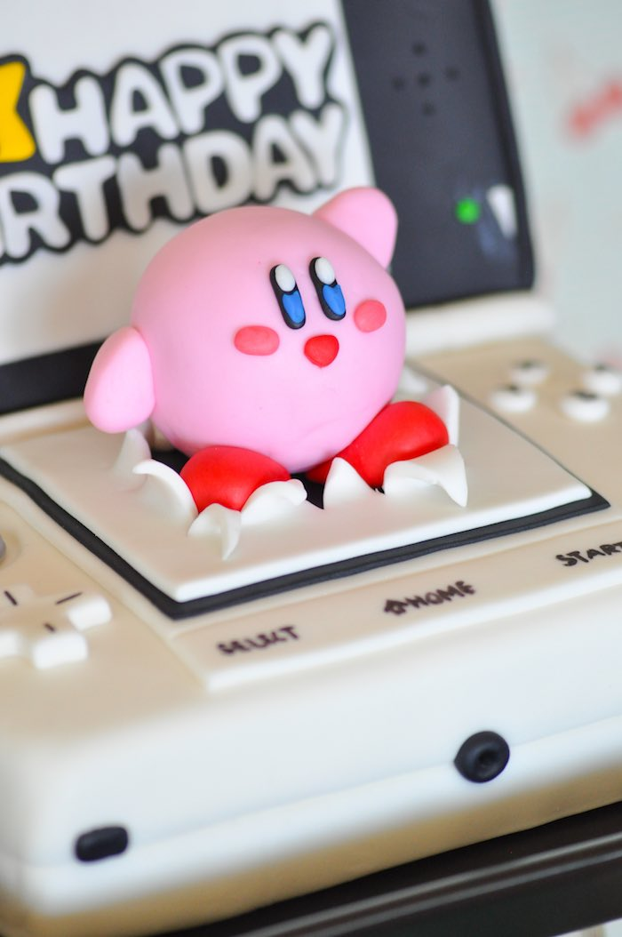 Karas Party Ideas Kirby Cake Topper From A Nintendo Inspired - Video game birthday cake