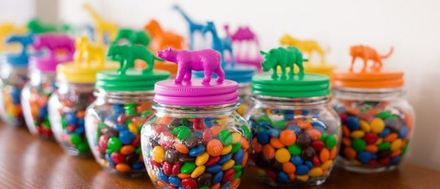 Candy filled Favor Jars from a Party Animal 1st Birthday Party via Kara's Party Ideas | KarasPartyIdeas.com (1)