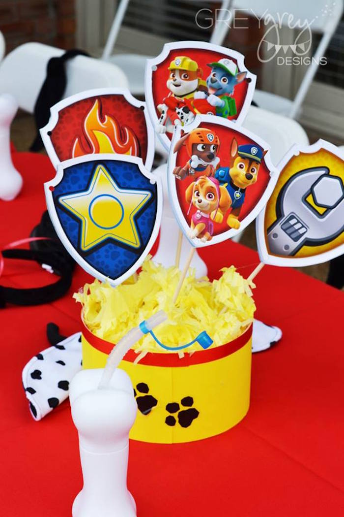 Guest Table Centerpiece from a Paw Patrol Birthday Party via Kara's Party Ideas | KarasPartyIdeas.com (15)