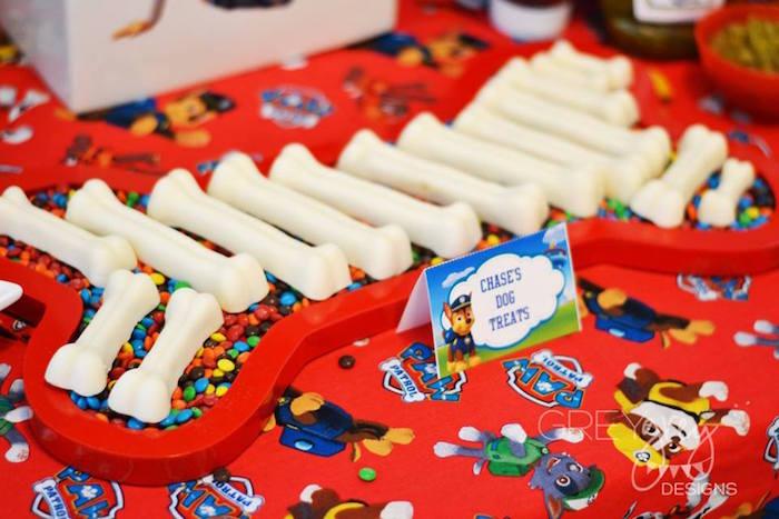 White chocolate and peanut butter dog bone truffles from a Paw Patrol Birthday Party via Kara's Party Ideas | KarasPartyIdeas.com (12)