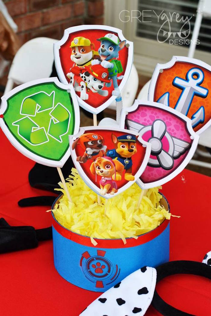 Table Centerpiece from a Paw Patrol Birthday Party via Kara's Party Ideas | KarasPartyIdeas.com (28)