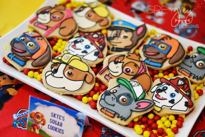 Skye's Sugar Cookies from a Paw Patrol Birthday Party via Kara's Party Ideas | KarasPartyIdeas.com (7)