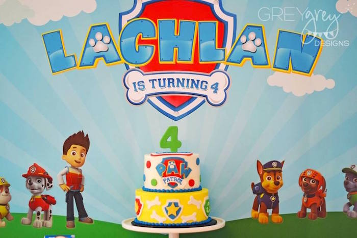 Cake + Backdrop from a Paw Patrol Birthday Party via Kara's Party Ideas | KarasPartyIdeas.com (3)