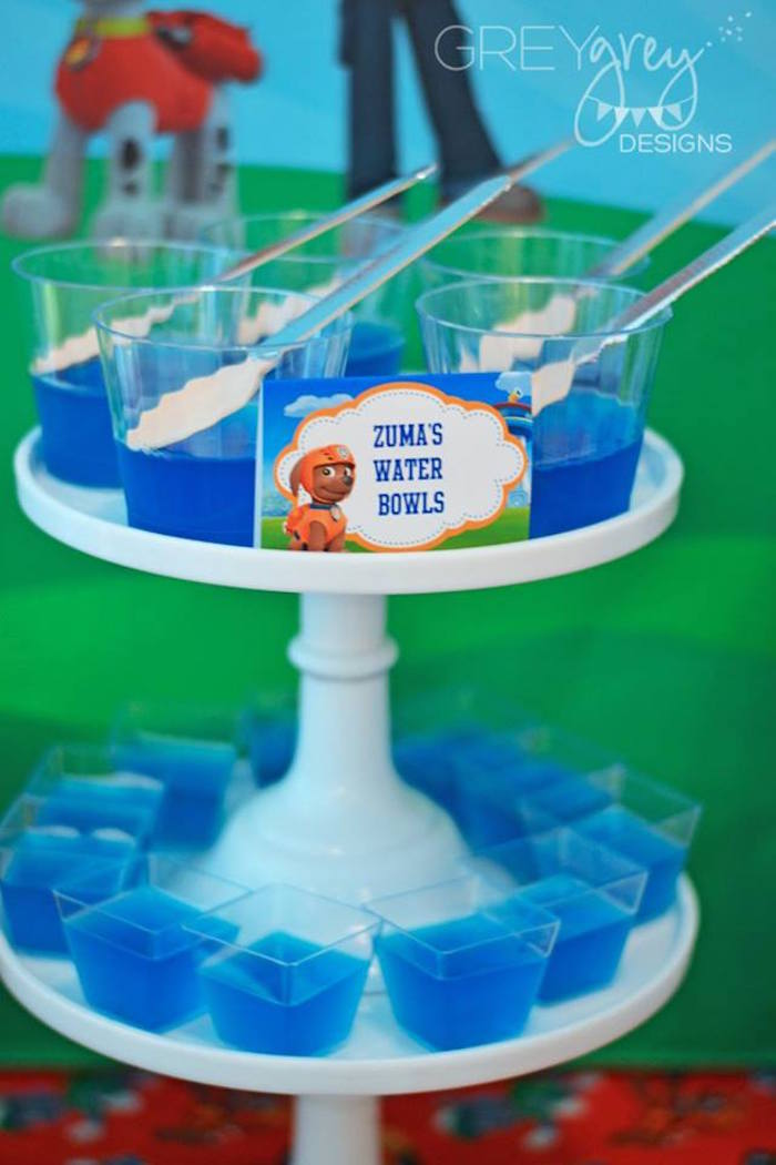 Zuma's Water Bowl Jello Cups from a Paw Patrol Birthday Party via Kara's Party Ideas | KarasPartyIdeas.com (25)