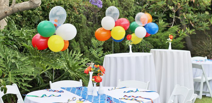 Guest Tables from a Primary Color Ball Birthday Party via Kara's Party Ideas KarasPartyIdeas.com (2)