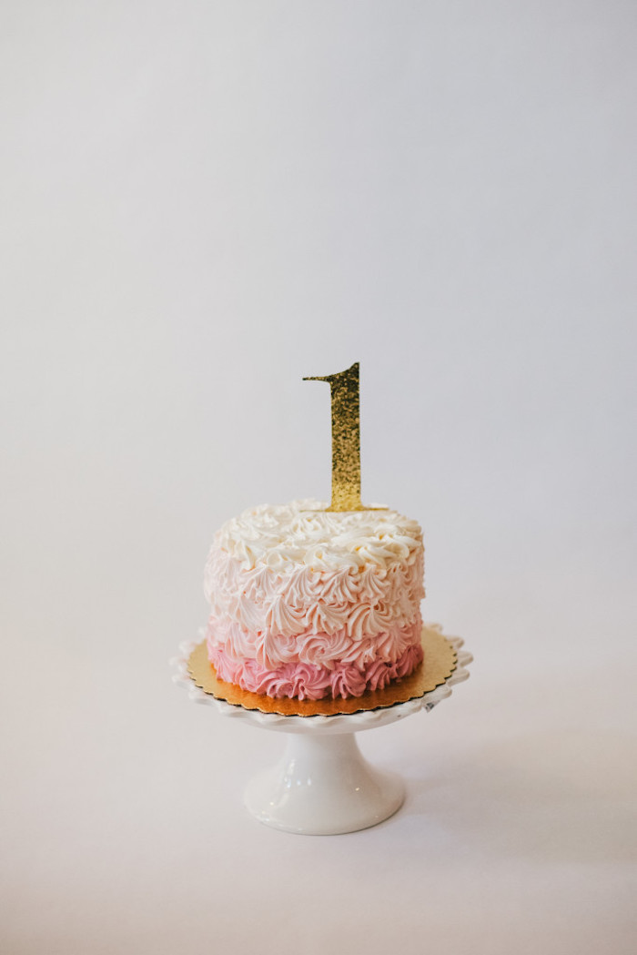 Pink Ombre Smash Cake From A Royal London 1st Birthday Party Via Karas Ideas