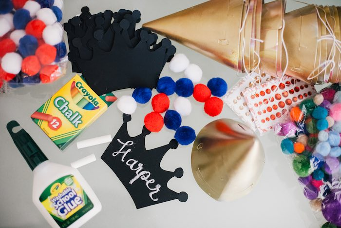 Kara 39 s party ideas crown craft station from a royal london for Craft birthday party places