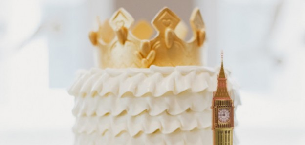 Cake Top from a Royal London 1st Birthday Party via Kara's Party Ideas | KarasPartyIdeas.com (1)