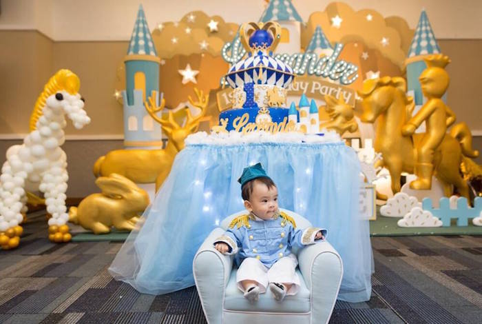 Kara's Party Ideas Little Prince sitting on his Royal Throne from a Royal Prince 1st Birthday ...