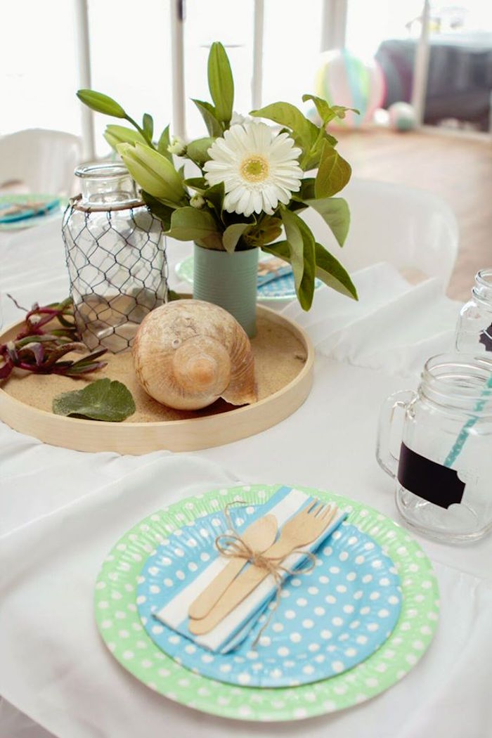Kara S Party Ideas Dining Table Centerpiece From A Rustic