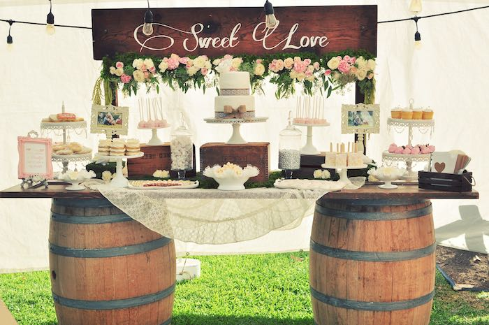 Kara 39 s party ideas sweetheart dessert table from a rustic for Backyard engagement party decoration ideas