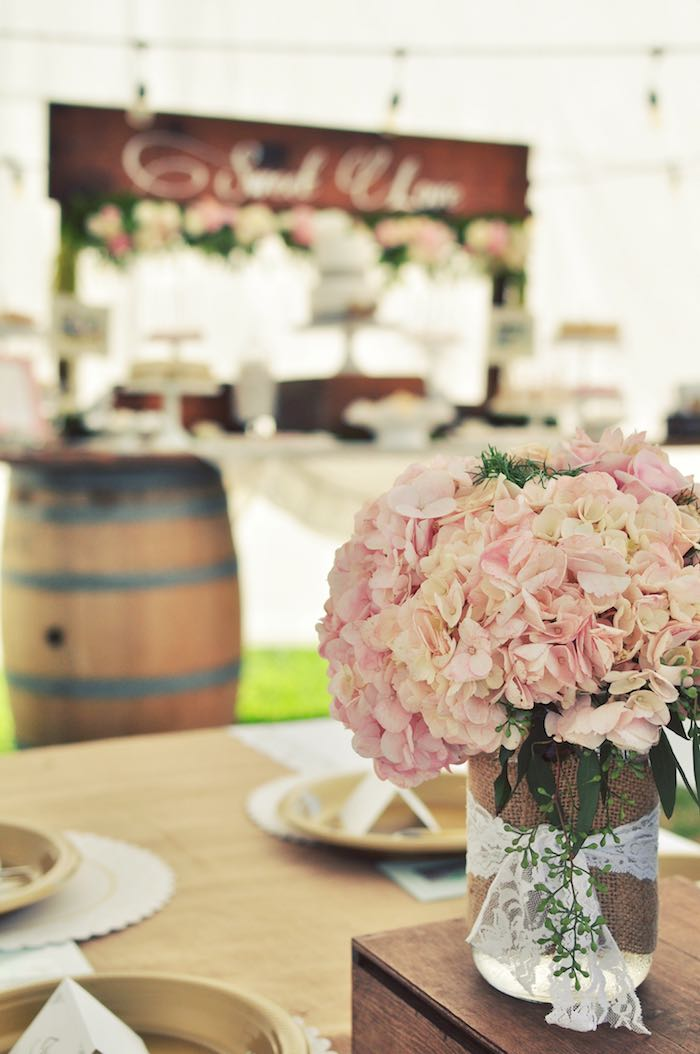 Kara s party ideas floral centerpiece from a rustic chic
