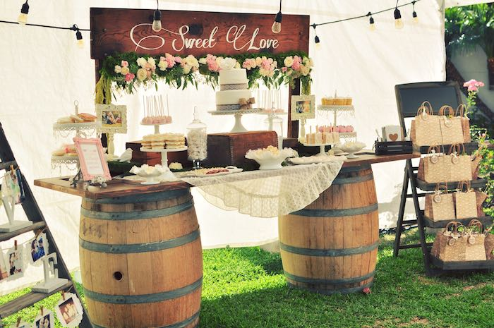 Charming Sweet Table Display From A Rustic Chic Engagement Party Via Karau0027s  Party Ideas | KarasPartyIdeas.