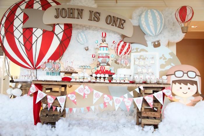 Sweet Table from a Rustic Hot Air Balloon Birthday Party via Kara's Party Ideas KarasPartyIdeas.com (15)