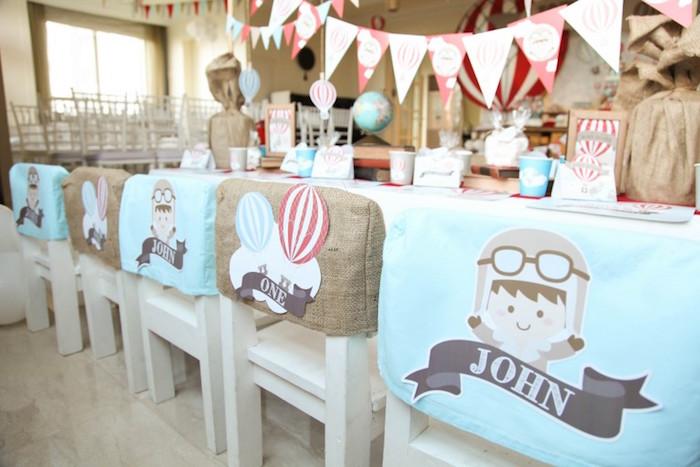 Chair Covers from a Rustic Hot Air Balloon Birthday Party via Kara's Party Ideas KarasPartyIdeas.com (14)