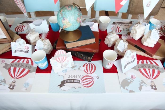 Dining Tabletop from a Rustic Hot Air Balloon Birthday Party via Kara's Party Ideas KarasPartyIdeas.com (13)