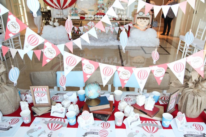 Guest Tablescape + Pennant Banners from a Rustic Hot Air Balloon Birthday Party via Kara's Party Ideas KarasPartyIdeas.com (12)