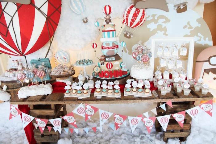 Sweet Table from a Rustic Hot Air Balloon Birthday Party via Kara's Party Ideas KarasPartyIdeas.com (11)