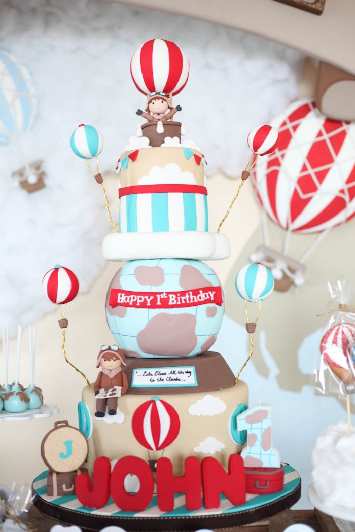 Kara S Party Ideas Rustic Hot Air Balloon Birthday Party