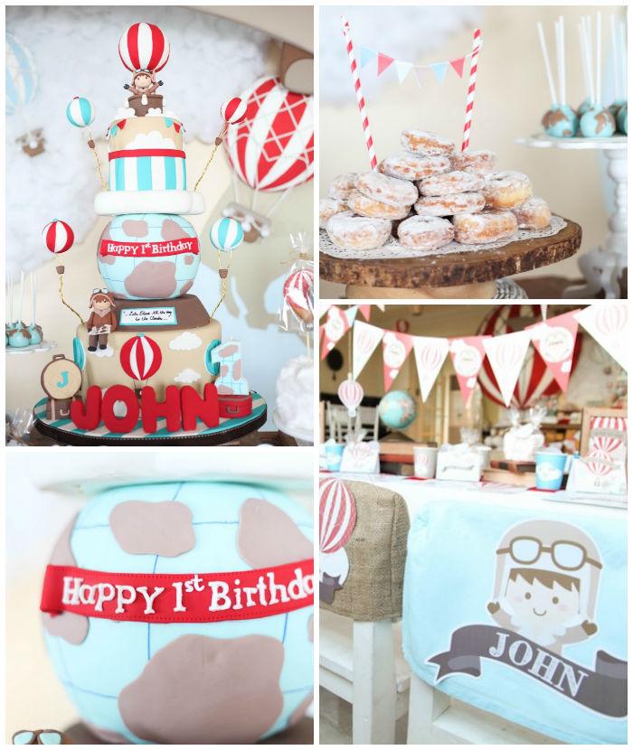Kara S Party Ideas Car Themed 1st Birthday Party Via Kara: Kara's Party Ideas Rustic Hot Air Balloon Birthday Party