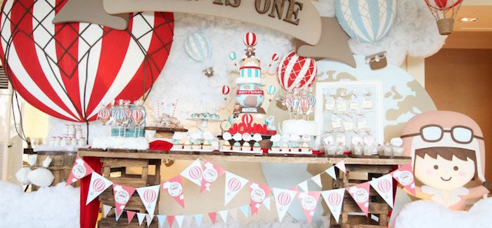 Dessert Table from a Rustic Hot Air Balloon Birthday Party via Kara's Party Ideas KarasPartyIdeas.com (1)