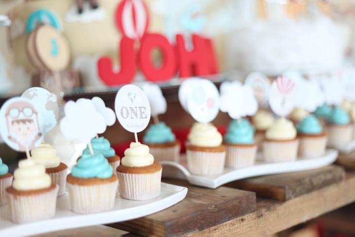 Cupcakes from a Rustic Hot Air Balloon Birthday Party via Kara's Party Ideas KarasPartyIdeas.com (17)