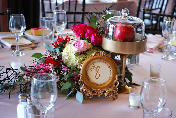 Centerpieces + Table Numbers From A Snow White Inspired Baptism Celebration  Via Karau0027s Party Ideas KarasPartyIdeas