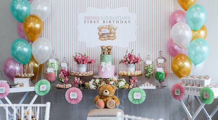 Dessert Table from a Teddy Bear Forever Friends Birthday Party via Kara's Party Ideas KarasPartyIdeas.com (14)