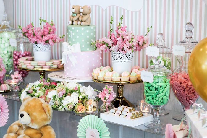 Side-view of a Sweet Table from a Teddy Bear Forever Friends Birthday Party via Kara's Party Ideas KarasPartyIdeas.com (12)