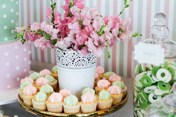 Mini Cupcakes + Florals from aTeddy Bear Forever Friends Birthday Party via Kara's Party Ideas KarasPartyIdeas.com (8)