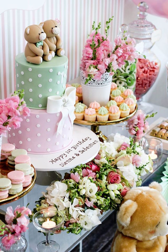 Cake + Sweets + Florals from a Teddy Bear Forever Friends Birthday Party via Kara's Party Ideas KarasPartyIdeas.com (5)