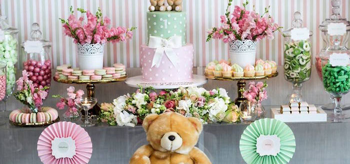 Cake + Sweets + Florals from a Teddy Bear Forever Friends Birthday Party via Kara's Party Ideas KarasPartyIdeas.com (1)