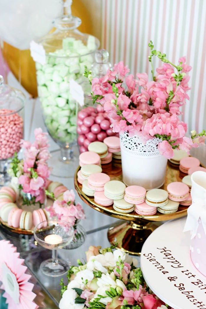 Macarons + Florals from a TeddyBear Forever Friends Birthday Party via Kara's Party Ideas KarasPartyIdeas.com (28)