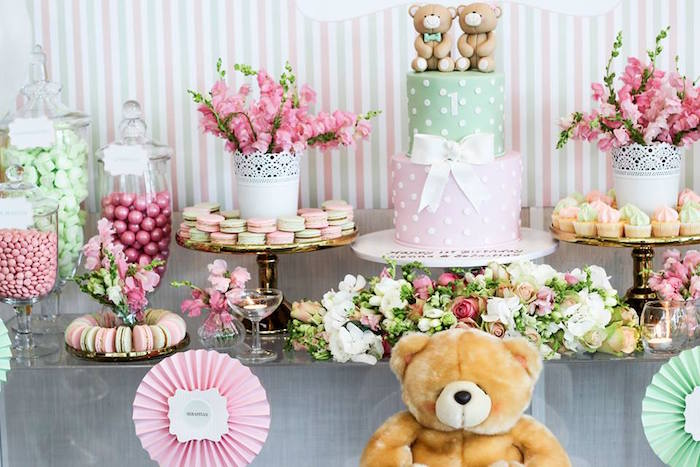 Cake + Sweets + Florals from a Teddy Bear Forever Friends Birthday Party via Kara's Party Ideas KarasPartyIdeas.com (25)
