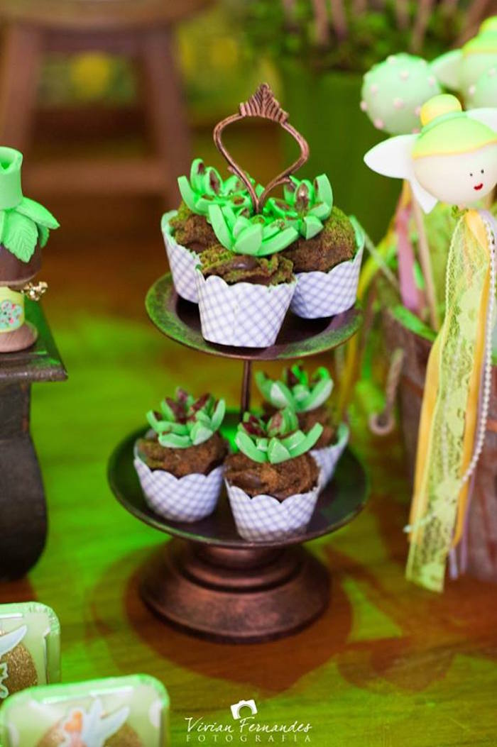 Cupcakes from a Tinkerbell Fairy Garden Birthday Party via Kara's Party Ideas KarasPartyIdeas.com (9)