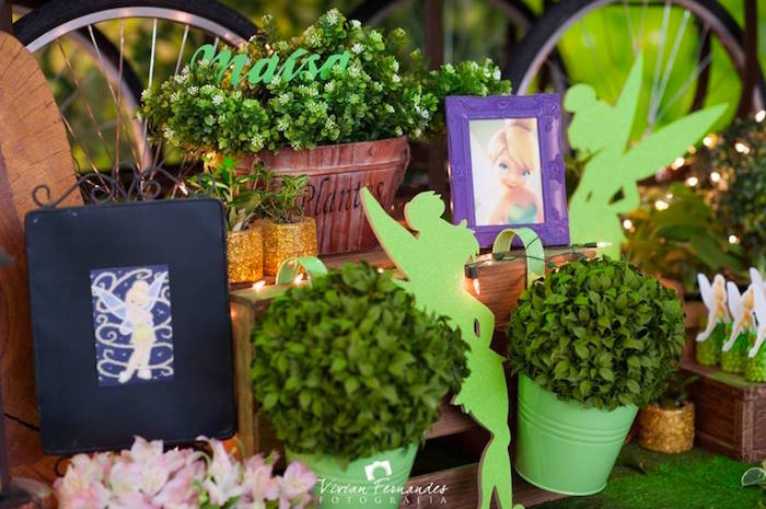 Decor From A Tinkerbell Fairy Garden Birthday Party Via Karau0027s Party Ideas  KarasPartyIdeas.com (