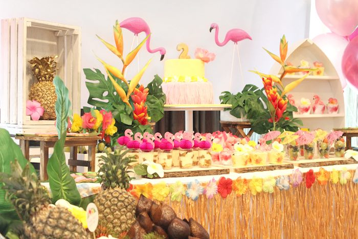 Sweet Table From A Tropical Hawaiian Flamingo Party Via Karas Ideas