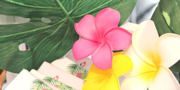 Flowers from a Tropical Hawaiian Flamingo Party via Kara's Party Ideas | KarasPartyIdeas.com (1)
