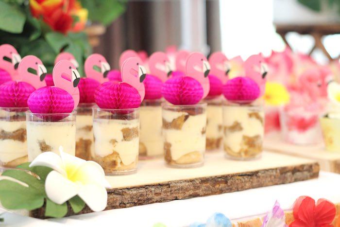 Flamingo Dessert Cups From A Tropical Hawaiian Party Via Karas Ideas