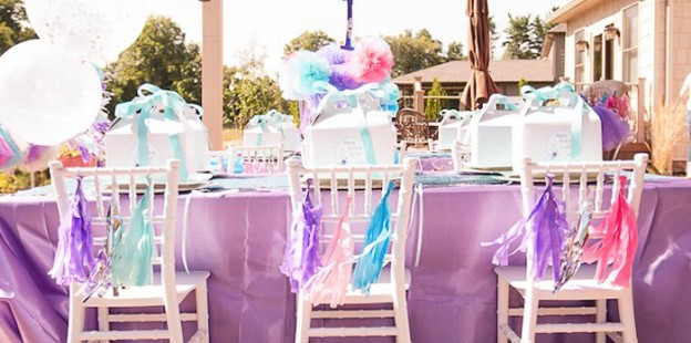 Dining Table from a Turquoise & Purple Modern Glam Frozen Birthday Party via Kara's Party Ideas KarasPartyIdeas.com (1)