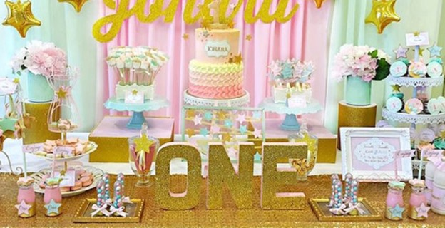 Close-up shot of a Sweet Table from a Twinkle Star Birthday Party via Kara's Party Ideas | KarasPartyIdeas.com (1)