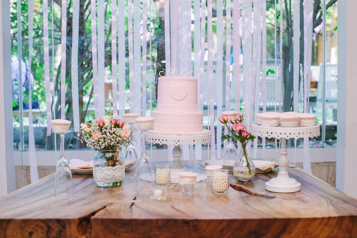 Cake Table From A Vintage Chic 1st Birthday Party Via Karas Ideas