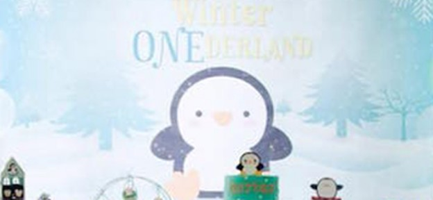 Backdrop from a Winter ONEderland Penguin 1st Birthday Party via Kara's Party Ideas | KarasPartyIdeas.com (4)