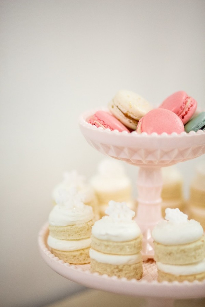 Stacked Mini Cakes + Macarons from a Winter Wonderland Birthday Party via Kara's Party Ideas KarasPartyIdeas.com (26)