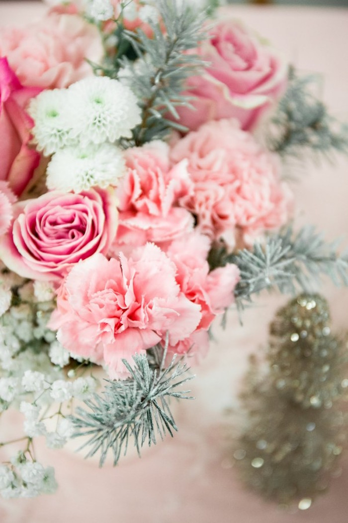 Florals from a Winter Wonderland Birthday Party via Kara's Party Ideas KarasPartyIdeas.com (21)