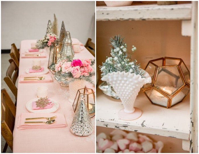 Dining Tablescape + Centerpieces from a Winter Wonderland Birthday Party via Kara's Party Ideas KarasPartyIdeas.com (7)